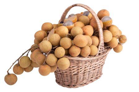 shopping basket: Longan in the shopping basket; Asian fruit Stock Photo