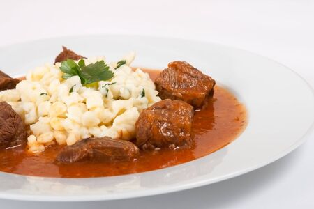 Beef goulash with noodles