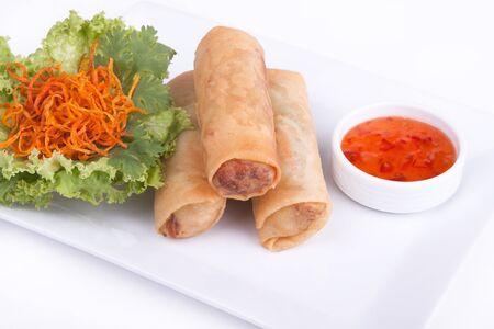 Spring roll with chilli sauce and vegetables