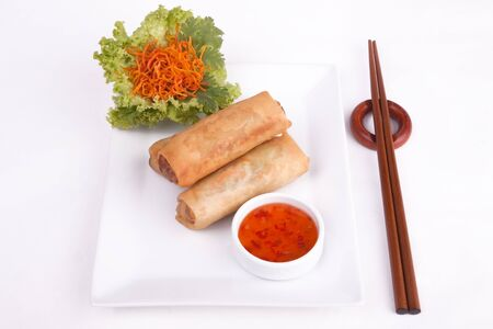 Spring roll with chilli sauce and vegetables photo