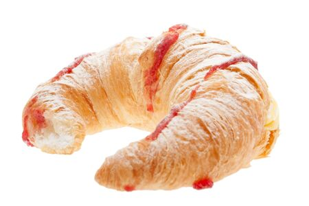 blancmange: Croissant with blancmange cream stuffed, strawberry jam and dust sugar