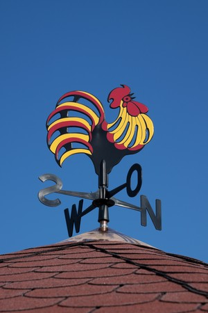 Colorful weather vane on a roof
