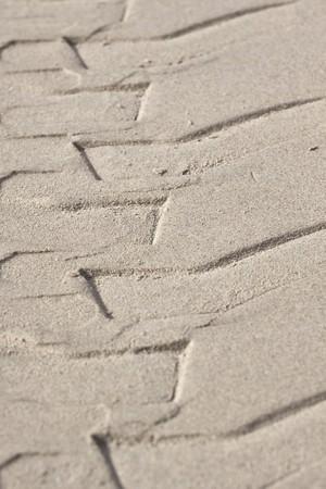 skidmark: Skidmark of a vehicle tyre on the beach