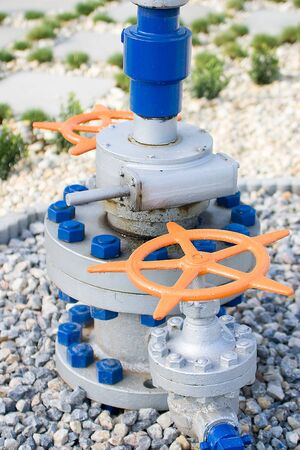 flange: Colored valve with tube and flange