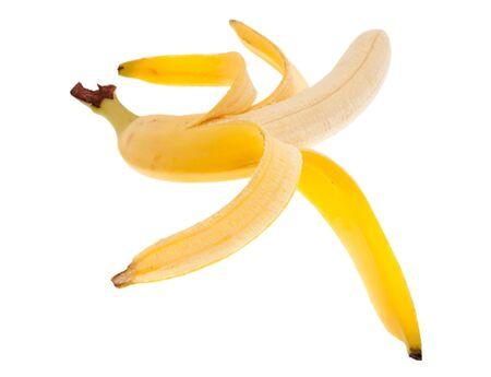 peeled banana: Peeled banana in front of white background