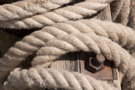 Old anchor rope Stock Photo