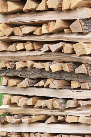 sawn: Wood sawn and stacked one above
