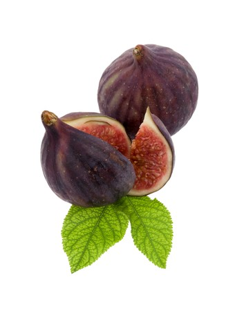 Figs with leaf in front of white background Stock Photo