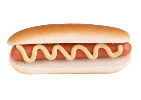 Hot dog met mosterd Stockfoto