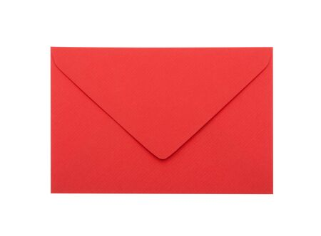 Red envelope with clipping path on white background