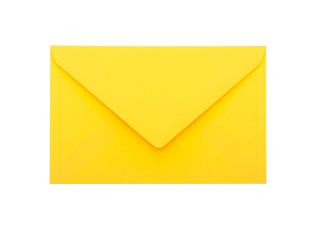 Yellow envelope with clipping path on white background