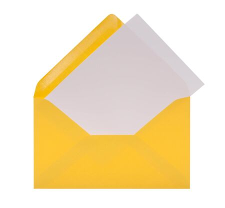 Envelope with letter-paper in front of white background and clipping path Stockfoto