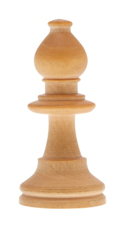wooden figure: Chess piece bishop in front of white background with clipping Path
