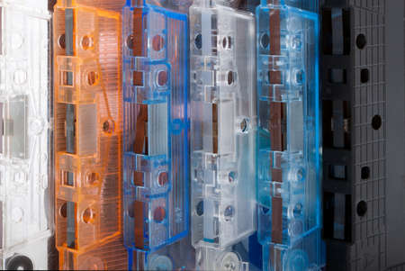 Close-up of old audio cassettes photo