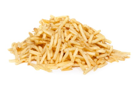 French fries in front of white background Stock Photo