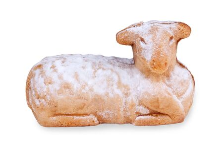 paschal lamb: Easter lamb with powdered sugar in front of white background
