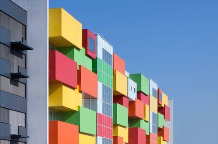 blue facades sky: Colorful facade of a residential building Stock Photo