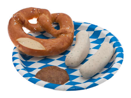 veal sausage: Veal sausage, pretzel and sweet mustard on a bavarian plate
