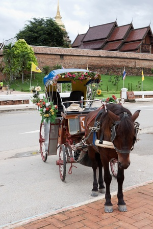 horse drawn carriage: Horse drawn carriage in Lampang; Thailand