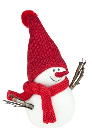 Snowman with red scarf and red cap photo