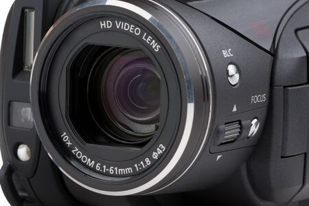 Digital video camera with close up of lens photo