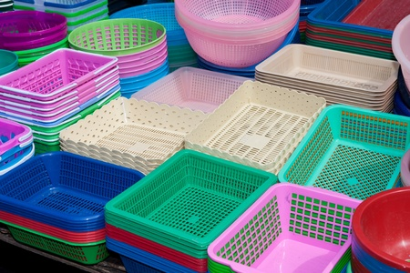 houseware: Houseware in various colors made of plastic Stock Photo