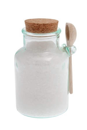 Sea salt in jar in front of white background with clipping path