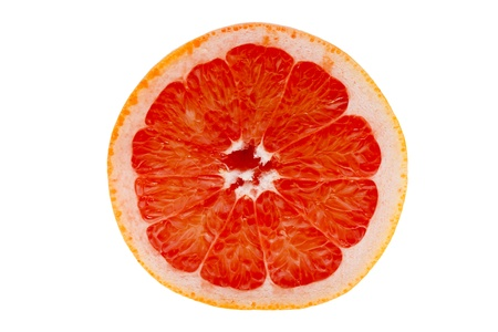 Cross-section of a blood orange in front of white background
