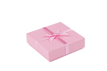 Gift box with ribbon in front of white background  Stock Photo