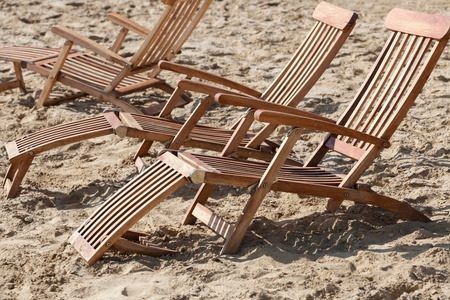 Closeup of sun loungers on the beach