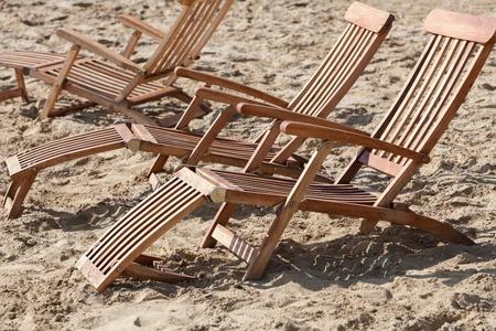 Closeup of sun loungers on the beach