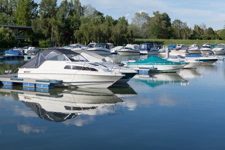 Motor boats in the harbor of D�rnstein; Austria Stock Photo