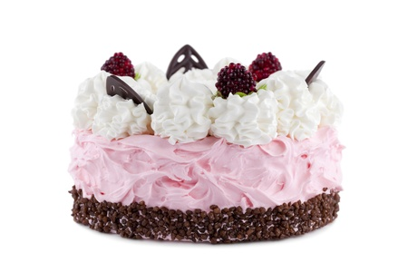Cake with raspberries in front of white background