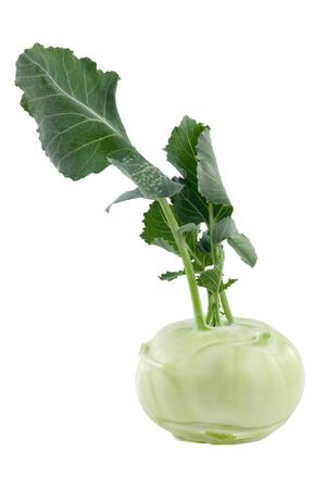 Kohlrabi in front of white background including clipping path Stock Photo