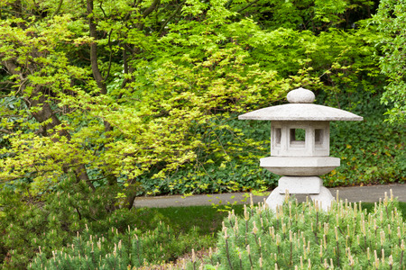 Japanese lamp made of stone in the garden