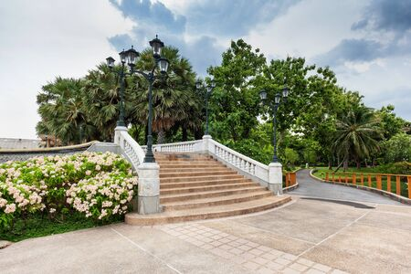 flower garden path: Stairs in Benjakiti Park in Bangkok