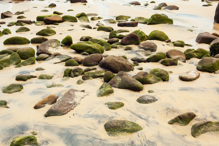 large rocks: Closeup of Khao Lak Beach in Thailand with large rocks and green moss