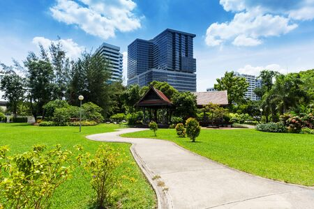 Lumphini Park in Bangkok with skyscrapers in the background