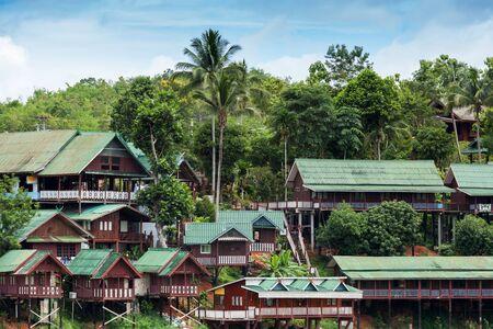 stilt house: Wooden houses on a hill in Sangkhlaburi, Thailand