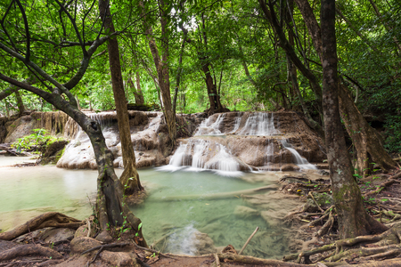 Waterfall in the rainforest of Kanchanaburi, Thailand