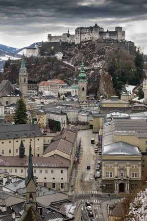 Historical City Salzburg with fortress Hohensalzburg in the winter Stock Photo