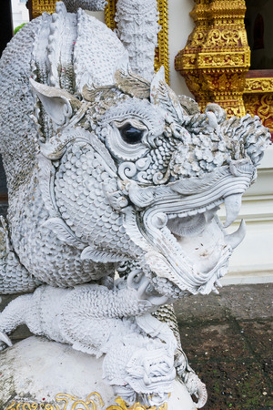 Dragon at Wat Buppharam in the old Town of Chiang Mai, Thailand Stock fotó