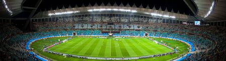 stadium  durban: Panoramic photo taken inside the Moses Mabhida Stadium in durban, during the Fifa 2010 world cup.