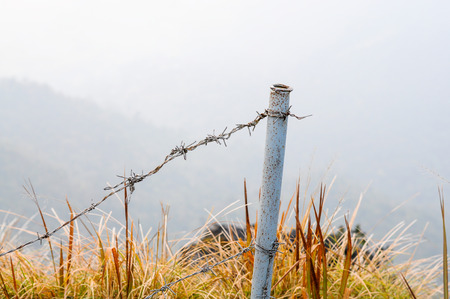 wire fence: Wire fence protected people fall the mountian.