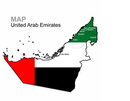 Verenigde Arabische Emiraten, vector. Verenigde Arabische Emiraten kaart gedeeld door de regio. Administratieve afdeling. Kaart gemaakt onder de vlag van de Verenigde Arabische Emiraten Stock Illustratie