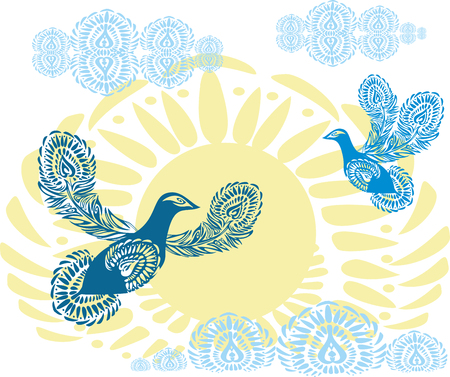 birds of paradise: Blue peace doves on the background of yellow sun with clouds. Birds of Paradise flying towards the sky. Patterned birds. Abstraction, symbolism