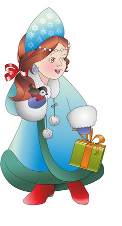 snow maiden: The snow maiden. With gift and bird. Young Santa Clauss helper. New year