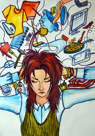 affairs: Illustration watercolor, abstraction. Adult girl holding his head, thinking about what she needs to do. Displayed on top of all things and objects, which are connected with its Affairs.
