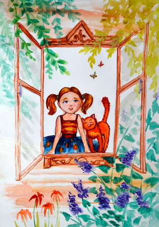 pigtails: Illustration watercolor. Little girl with pigtails and a ginger cat look outside, at nature from the window frame.