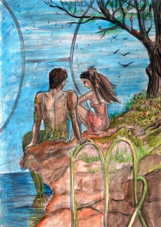 cliff edge: Illustration watercolor. A young girl sits on the edge of the cliff before the sea. Man with a mermaid
